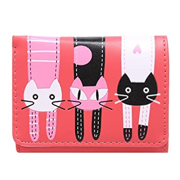 Amazon.com: fanala Mujer Mini Cute Cat portafolios Trifold ...