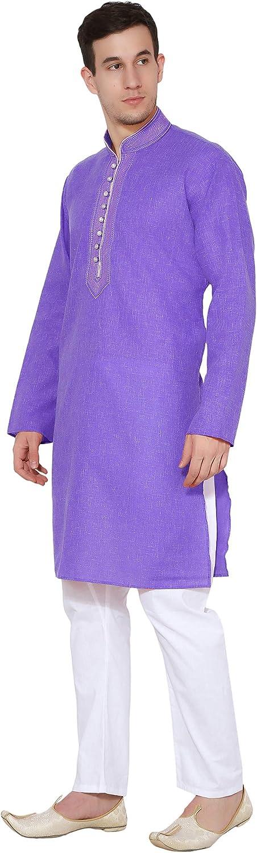 SKAVIJ Mens Tunic Cotton Kurta Pajama Set Casual Indian Apparel