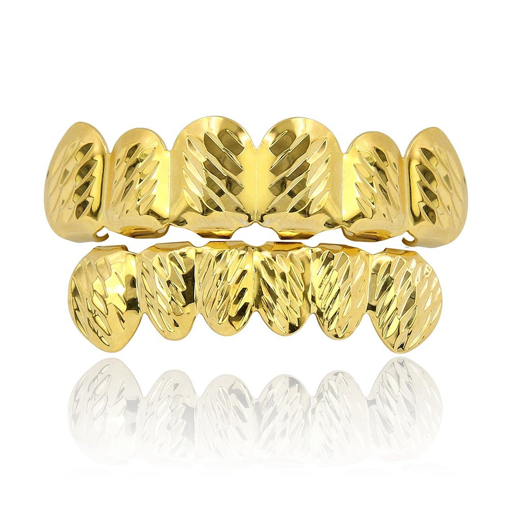JINAO 18k Gold Plated 6 Tooth White Gold Plated Diamond Cut Hip Hop Grillz Set (Gold Set)