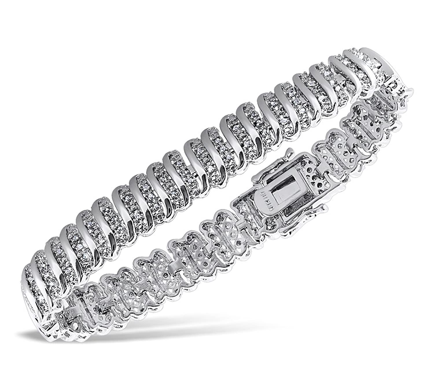 Ladies 2.00 CT Diamond 14K White Gold-Plated Brass S-Link Tennis Bracelet 5-10 Inches