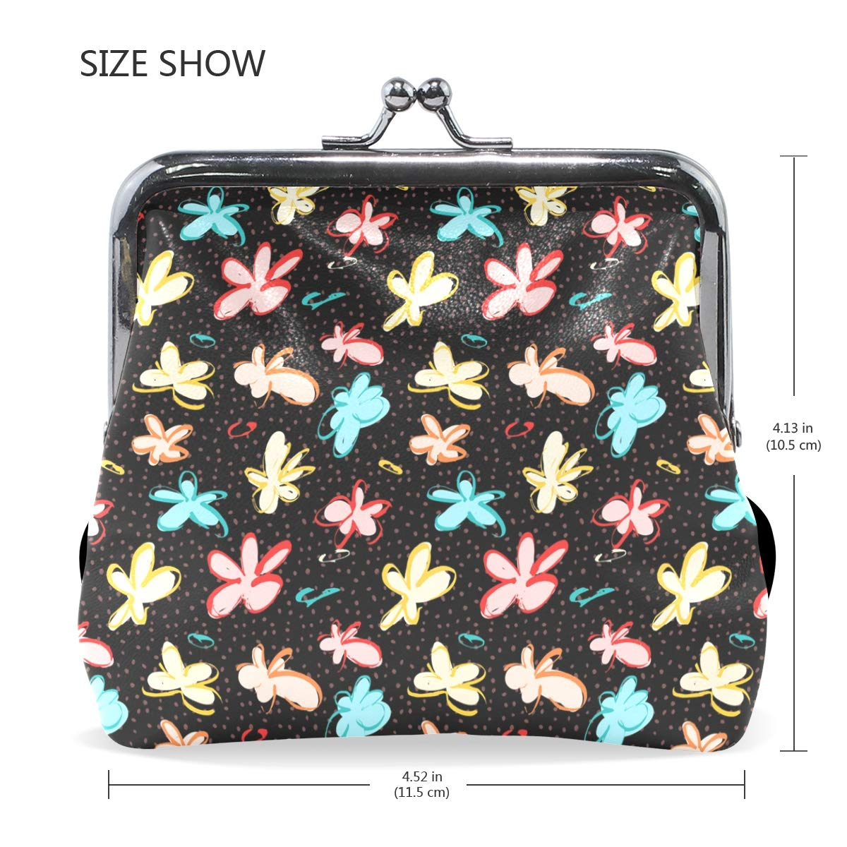 Exquisite Buckle Coin Purses Abstract Flowers Mini Wallet Key Card Holder Purse for Women
