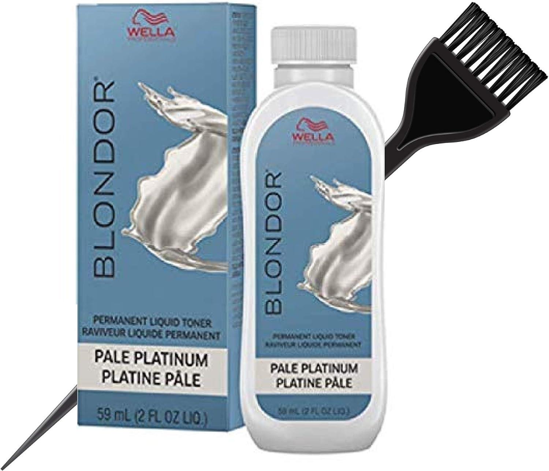Coty WellaWella BLONDOR tintador de cabello líquido permanente (con elegante pincel de tinte) tinte de color de cabello, 18 Pale Platinum, 1.00[set de ...