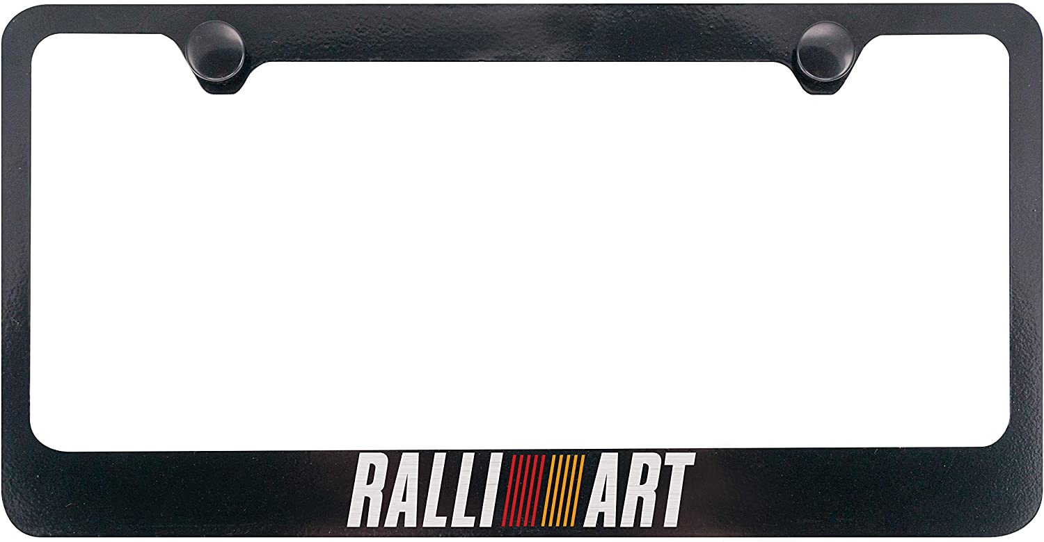 BLACK Powder Coated Metal License Plate Frame Tag Holder w//Screw caps RALLIART