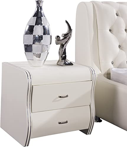 US Pride Furniture Faux Leather Contemporary Nightstand