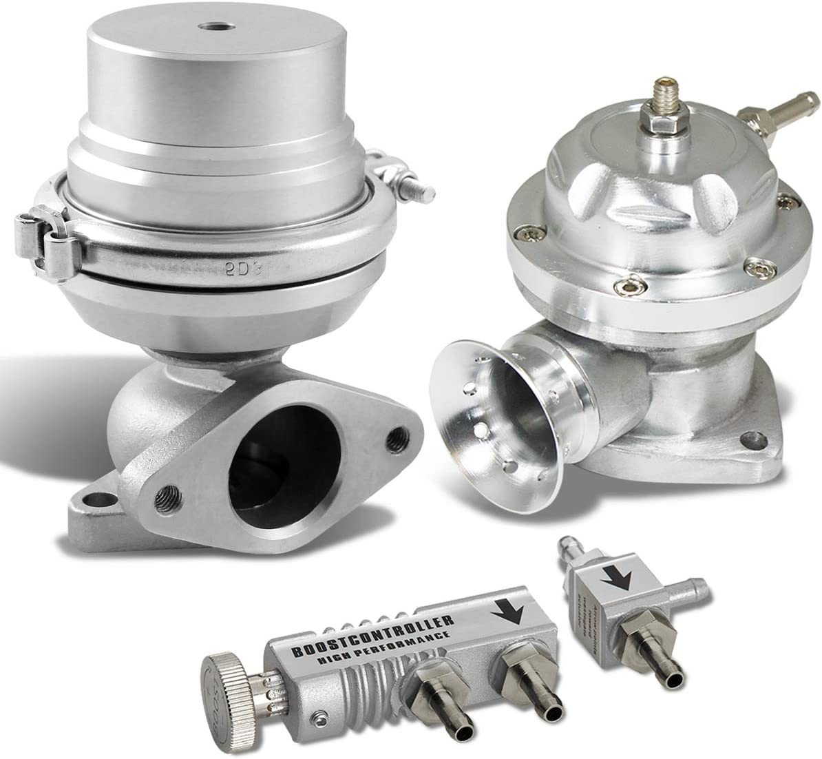 """8+6 PSI Silver 38mm 14 PSI Dual Springs 4.4/"""" Turbo Charger External Wastegate"""