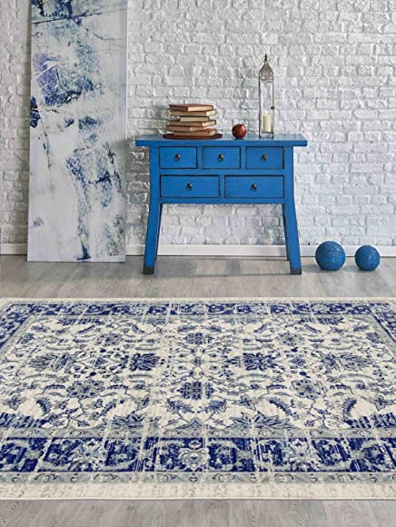 PlanetRugs Inc Classic Traditional Floral Oriental Bohemian Distressed 5×8 5×7 Area Rug 6346 Blue Turquoise