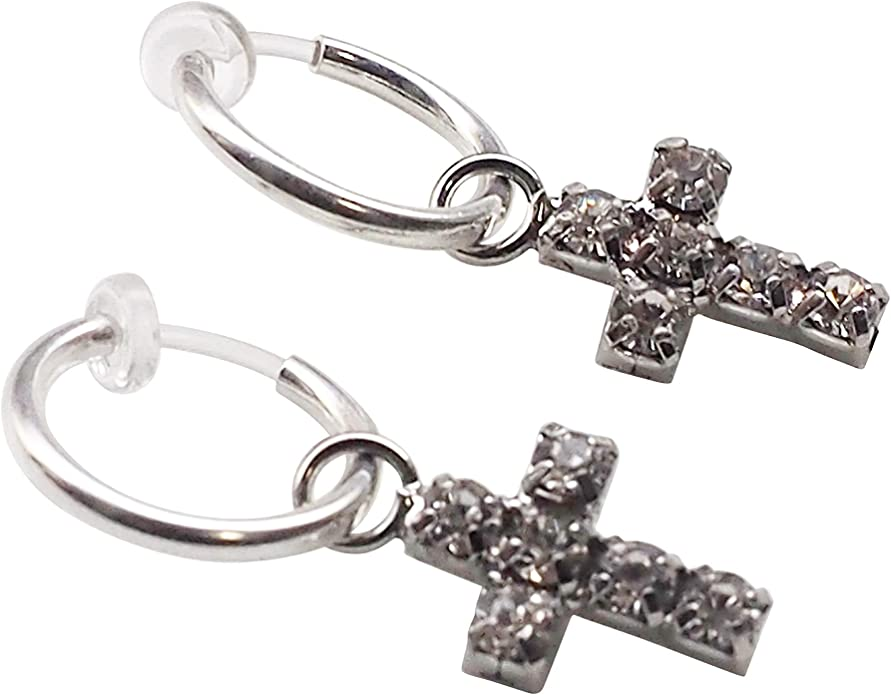 Stick Spike Cross Feather Invisible Clip On Earrings Dangle Fake Earrings Men\u2019s Silver Clip On Earrings Comfortable Clip On Hoop Earrings