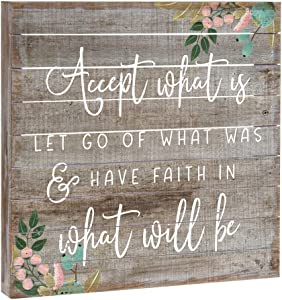 "Sincere Surroundings Simply Said, INC Perfect Pallets 14"" Wood Sign - Accept What is, Let Go of What was & Have Faith in What Will Be"