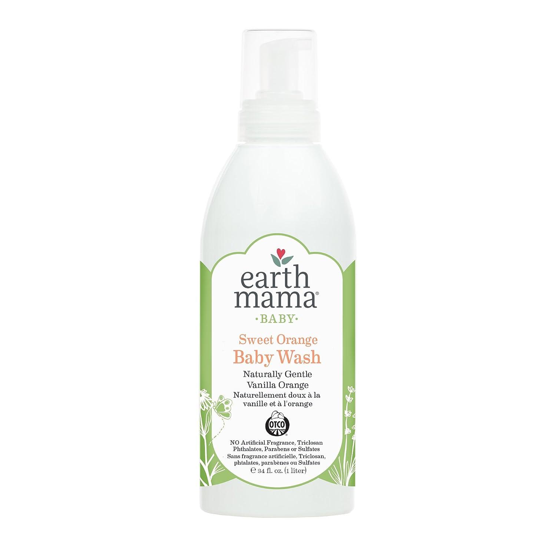Earth Mama Sweet Orange Baby Wash Gentle Castile Soap for Sensitive Skin, 34-Ounce Earth Mama Angel Baby CA
