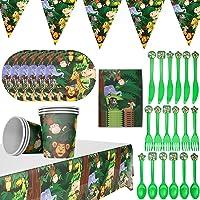 BETOY 42 PCS Set de Vajilla de Fiesta - Desechable Papel Platos, Vasos, Servilletas, Pajitas y Globos Suministros para…
