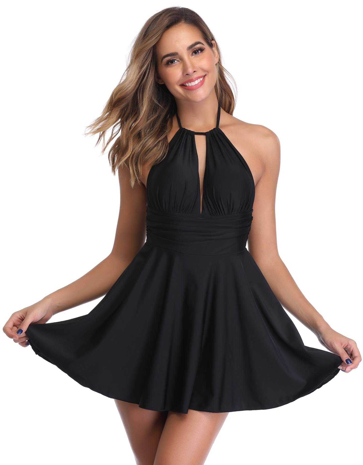 MarinaVida Women One Piece Tummy Control Swimsuit High Waisted Skirtini Cover Up Swimdress Black