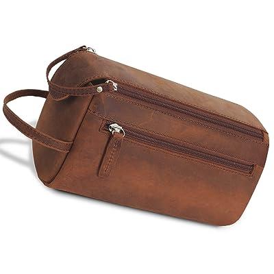 Srotek Genuine Leather Toiletry Bag Vintage Dopp Kit Bag Water-resistant  Unisex Travel Shaving Bag 6155d58239a35
