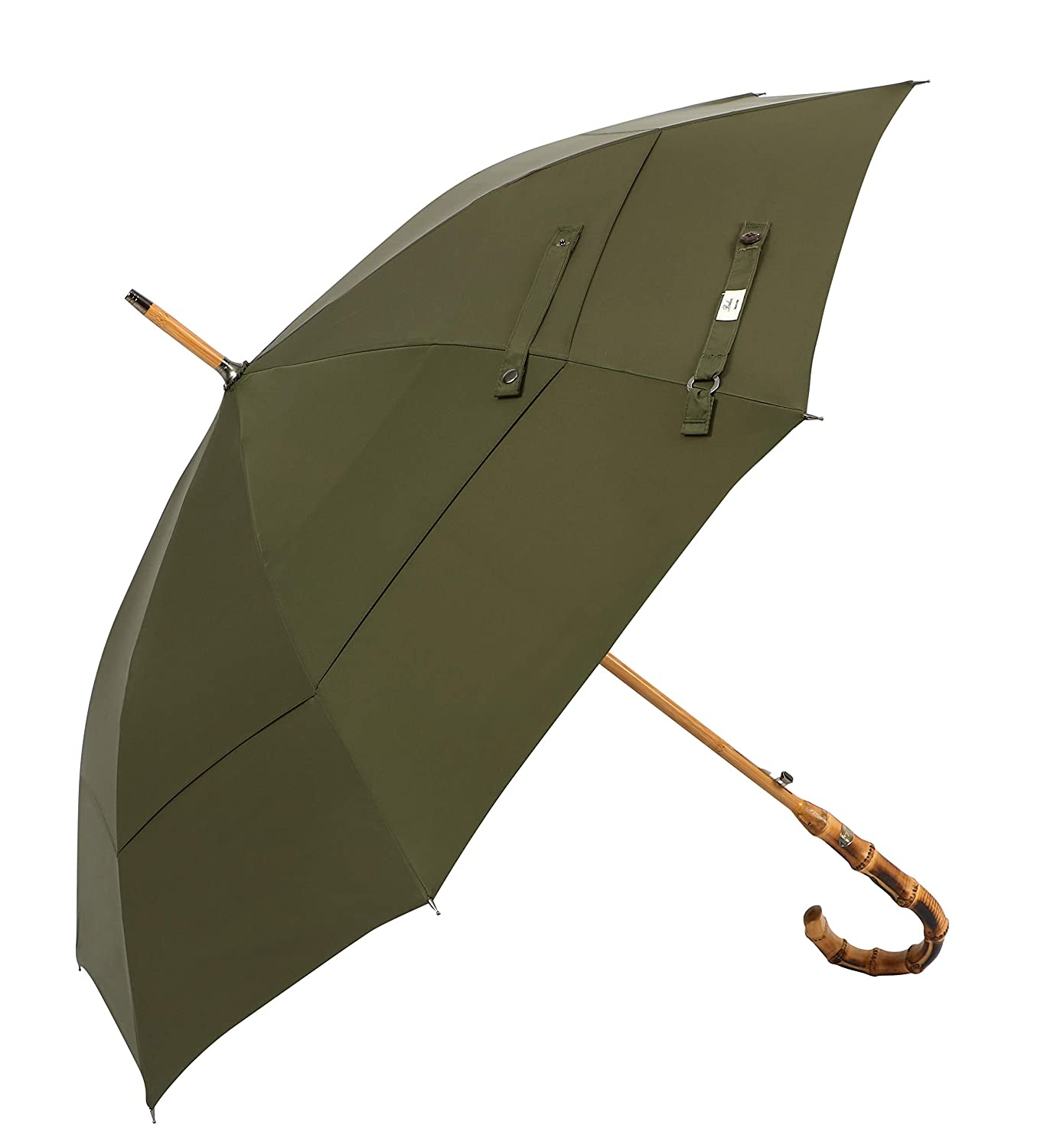 (Designed in Britain) Balios® Walking Stick Umbrella Handmade Bamboo Whangee Double Canopy Windproof Fiberglass Strong Frame, Auto Open, Quality Crook Handle (Dark Navy with Bamboo Handle)