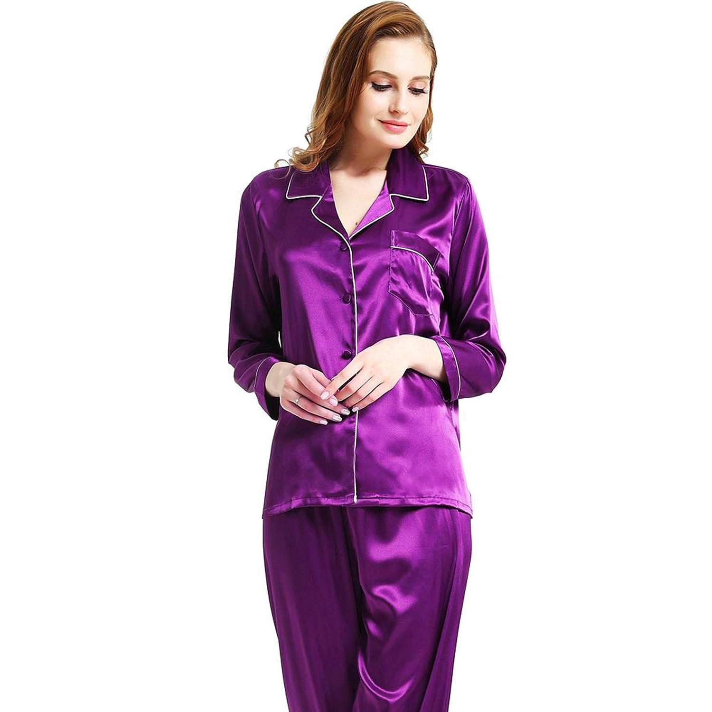 0f1acf36fa227 Womens Silk Satin Pajamas Set Sleepwear Loungewear XS~3XL Plus at Amazon  Women s Clothing store