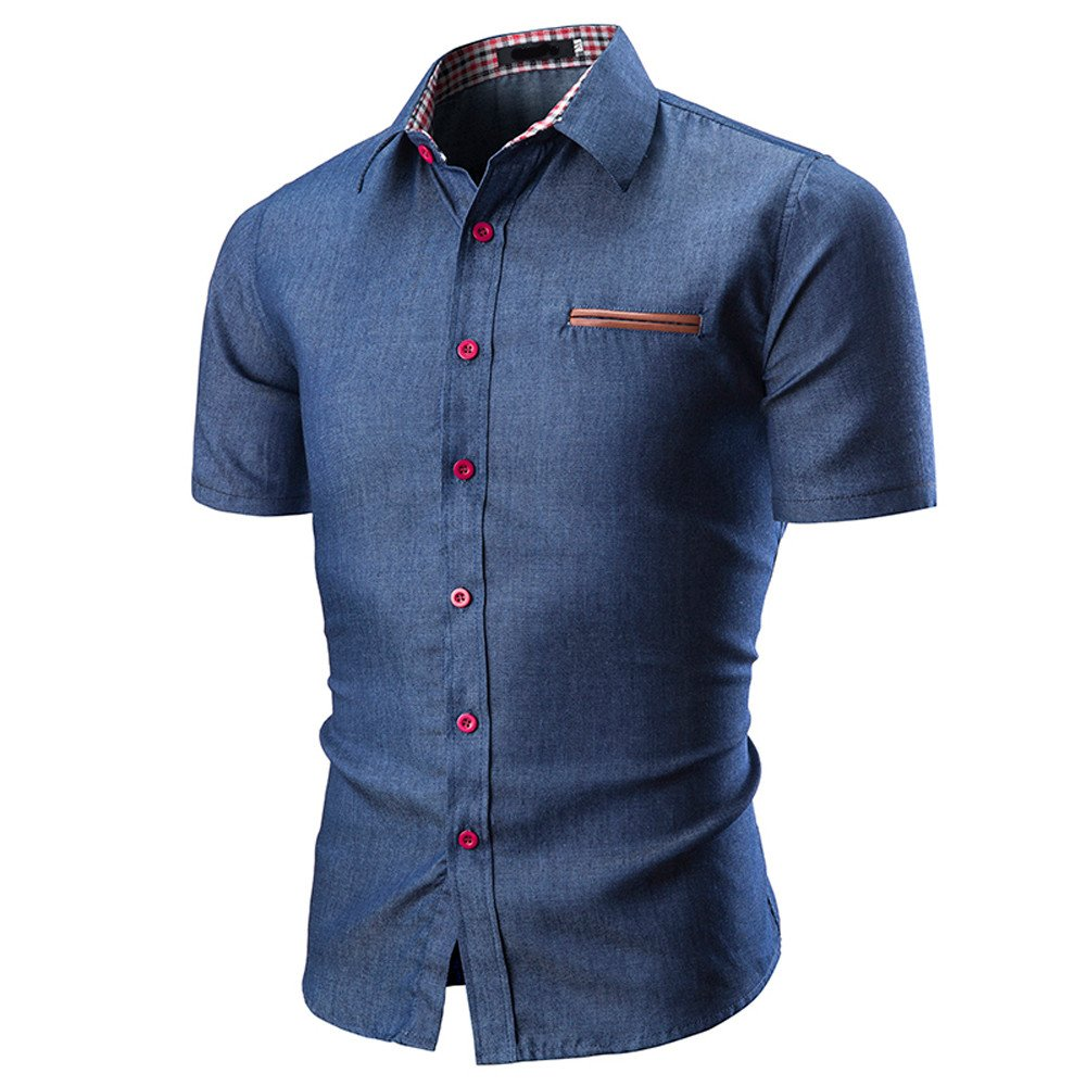 mens Solid Slim fit Short Sleeve Button Down Casual Dress Shirt with Pocket STORTO