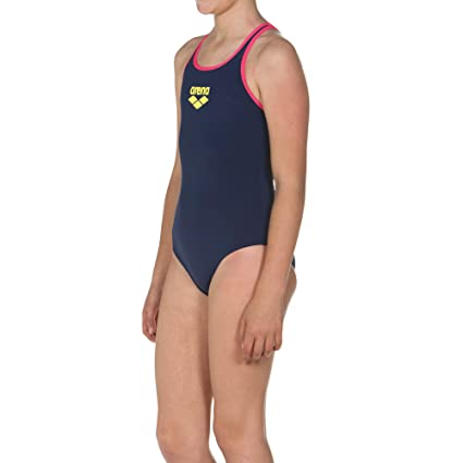 4375d4508f Amazon.com : arena Girls Big Logo Swimsuit Navy Blue : Sports & Outdoors