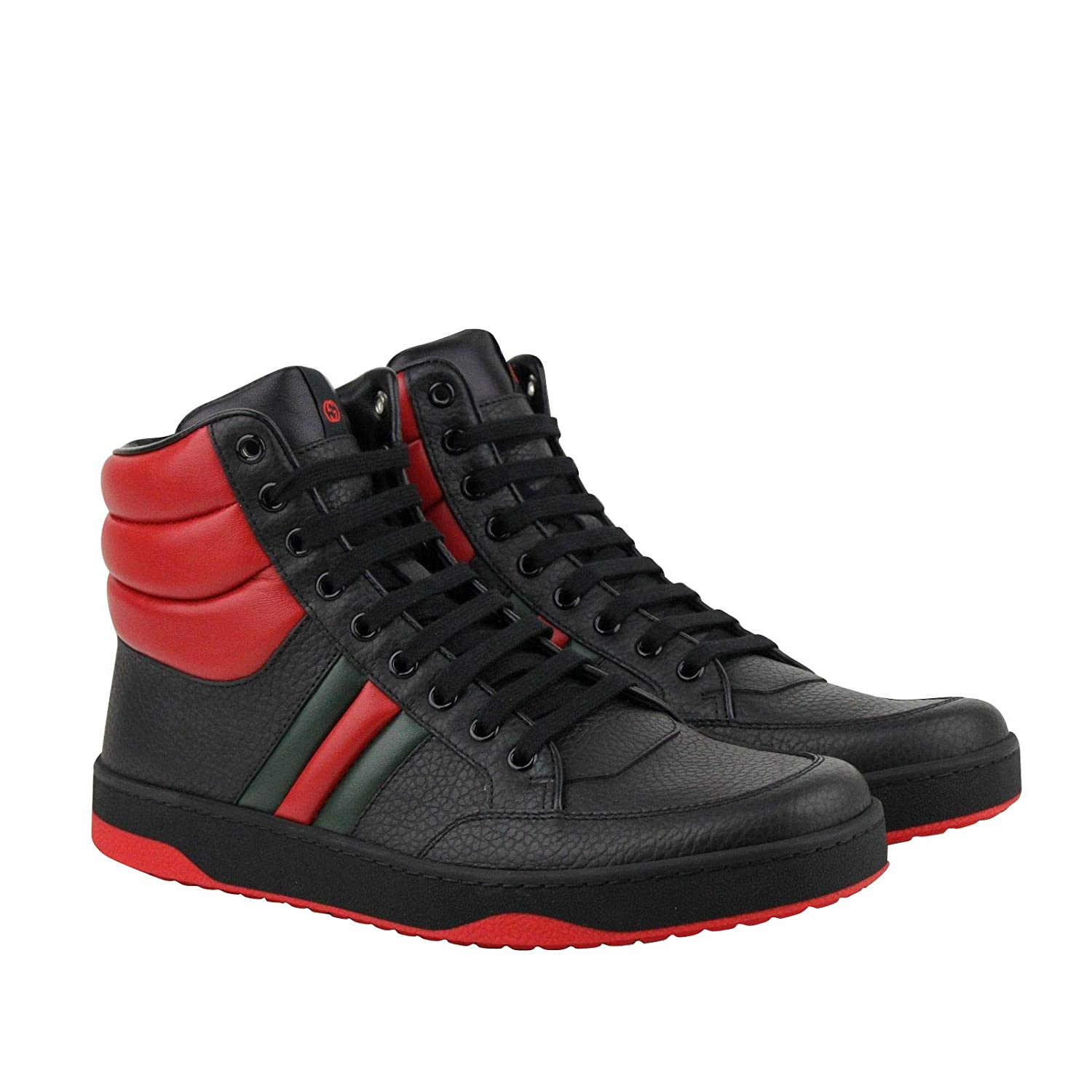 Gucci Red sneakers Amazon.com: Gucci Men's GRG Web Detail Black/Red Leather Hi Top Sneakers  368494 1074 (8 G/US 8.5): Shoes