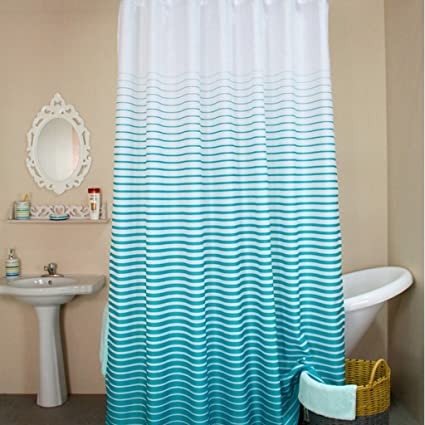 Striped Shower Curtain Mildew Proof Water Hanging Curtains 180cm180cm 100Polyester Bathroom