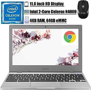 "2020 Flagship Samsung Chromebook 4 11 11.6"" Laptop Computer Intel Dual-Core N4000 4GB DDR4 64GB eMMC 12-Hr Battery Life WiFi Type C HD Webcam Chrome OS Google Glass/Zoom Ready + iCarp Wireless Mouse"