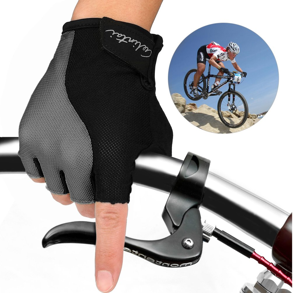 Vbiger Men & Women Workout Gloves Half Finger Anti-slip Shockproof Gloves for Cycling,Weightlifting,Fitness and Cross Training