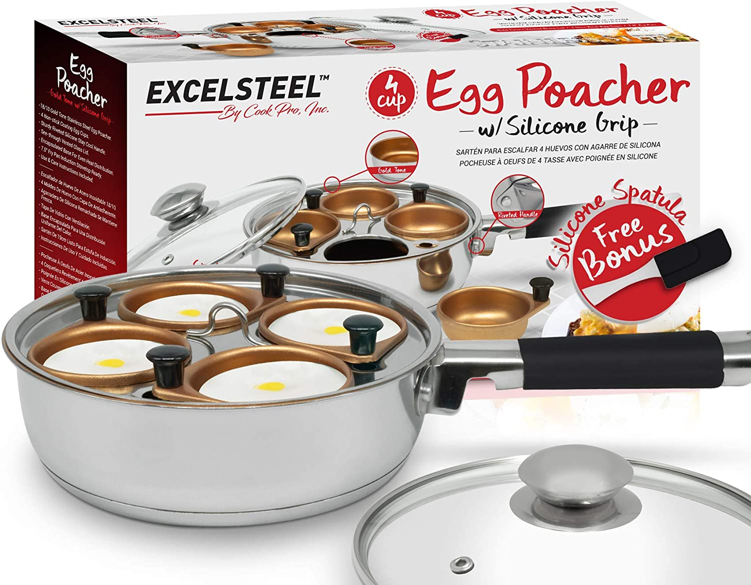 ExcelSteel Non Stick Easy Use Rust Resistant Home Kitchen Breakfast Brunch Induction Cooktop Egg Poacher, 4 Cup, Gold Tone