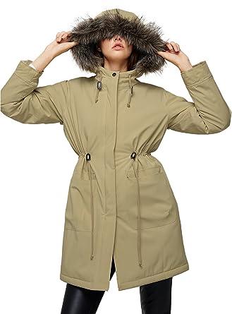1734ce650ec Escalier Women s Parkas Jacket Faux Fur Lined Warm Hooded Winter Coats  Beige XS