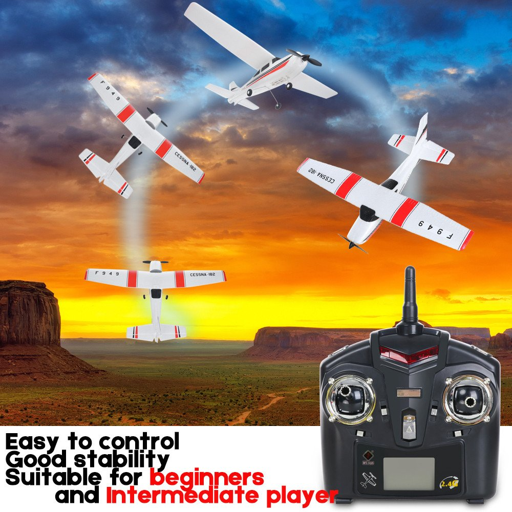 Remote Control Airplane for Beginners &Intermediate Flight Game Players F949 3CH 2.4G RC Airplane RTF Glider EPP Composite Material 14+,Designed According To Cessna-182 Plane (White) by succeedtop ❤️ Ship from US ❤️ (Image #1)