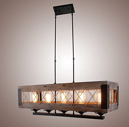 Decomust Metal and Wood Kitchen Island Lighting Chandelier Basked Pendant Wire Mesh Rope Shade Retro Vintage Industrial Rustic Ceiling Lamp Caged Light 32 Inches 5 Lights