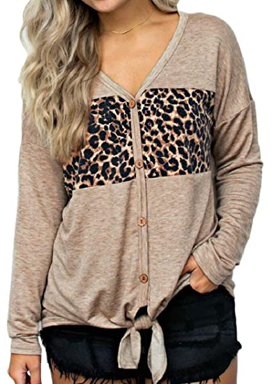 897a8f636b8b ouxiuli Women Tops Button Down Leopard Print Tie Knot Casual Cardigan  Sweaters Jackets Khaki XS