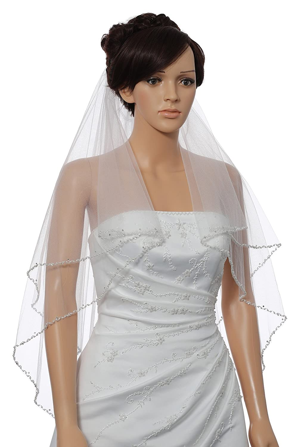 2T 2 Tier Wavy Pearl Crystal Beaded Bridal Wedding Veil - Ivory Fingertip Length 36