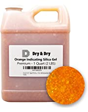 """""""Dry & Dry"""" [1 Quart] Premium Orange Indicating Silica Gel Desiccant Beads(Industry Standard 2-4 mm) - Rechargeable Silica Gel Beads(2 LBS)"""