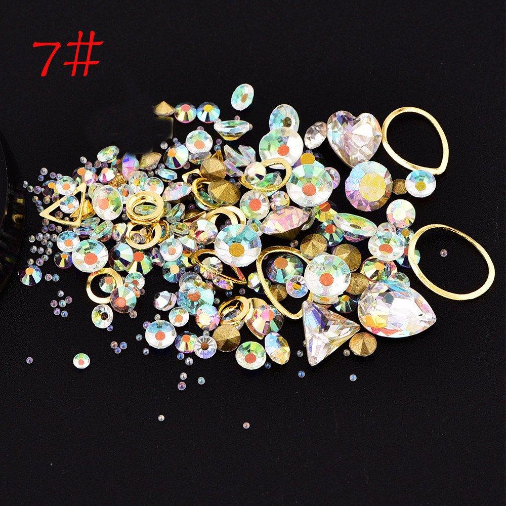Euone Clearance Sales,Fashion Nail Art Rhinestones Glitter Diamonds Tips Mixed 3D Tips DIY Decoration