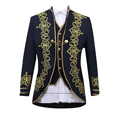 Abetteric Men's Embroidery Set 3-Piece Stage clothes Stylish Suit Coat Jacket