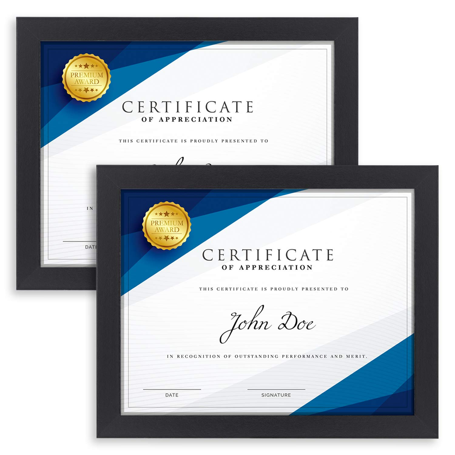 Langdon House Diploma Frame (2 Pack, Black) 8.5 x 11 Certificate Frame, Sturdy Wood Composite, Wall Mount Hooks Included with Black Picture Frames for Documents, Prima Collection by Langdon House