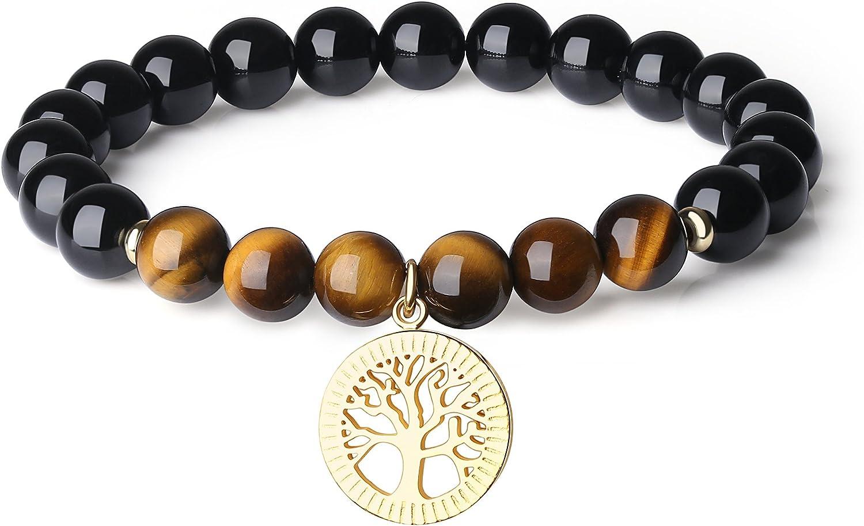 COAI Pulsera de Turmalina Negra y Piedras Naturales con Amuleto Árbol de la Vida