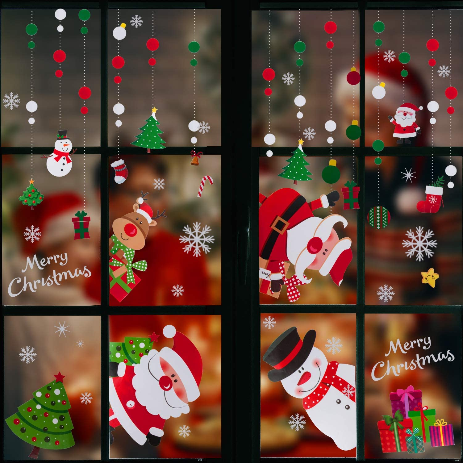 JOYYPOP Christmas Window Clings with Snowman Santa Claus Stickers Reusable Decal Stickers for Christmas Window Decorations 4 Sheets
