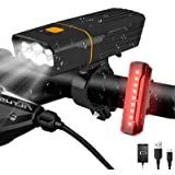 AlpsWolf Rechargeable Bike Lights Headlight and Back Light, LED Bicycle Light Set 2400 mAh Power Bank, 800LM, 3+5 Light Modes