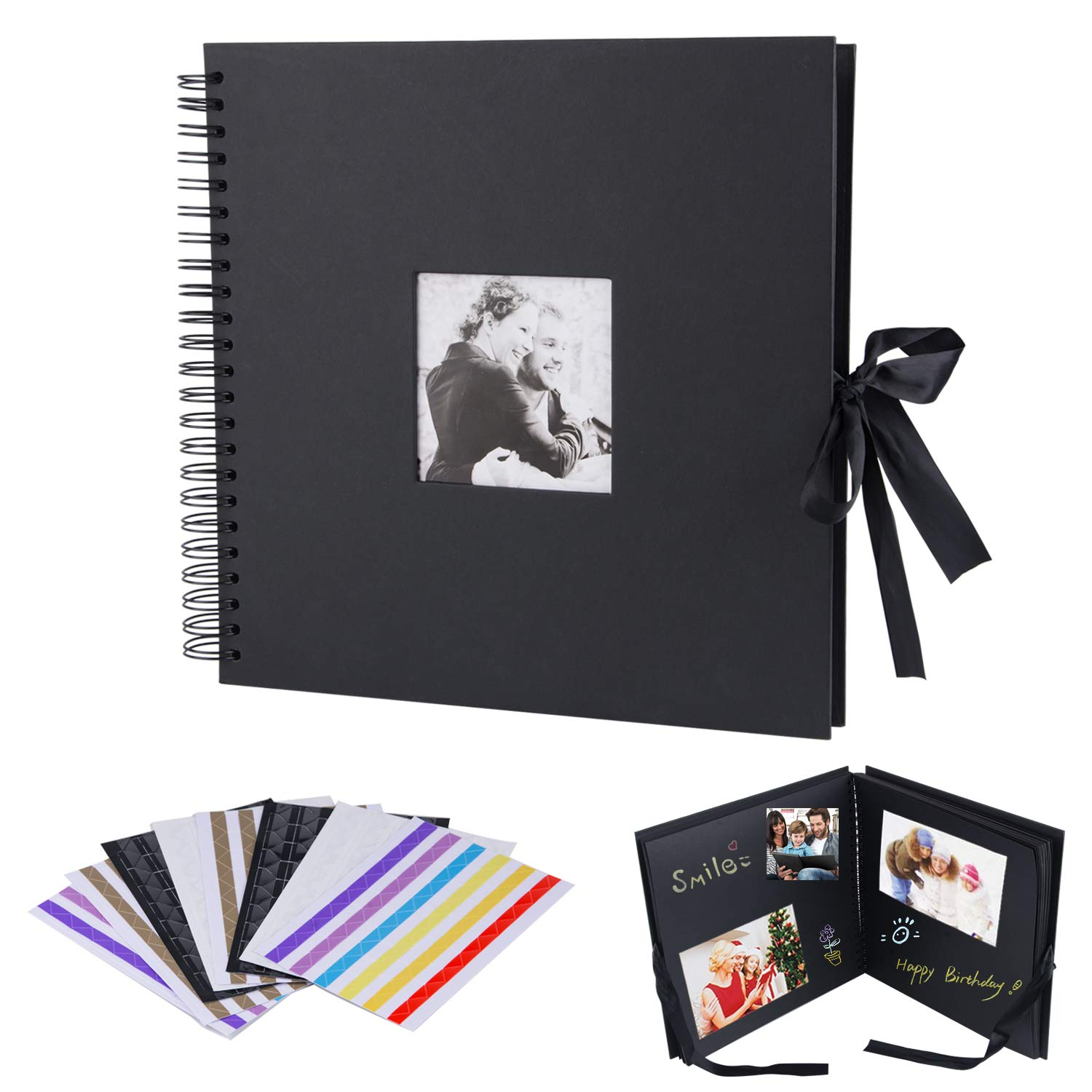 12x12 inch Scrapbook, Morfone DIY Photo Album with Cover Photo Pocket 80 Pages Wedding Guest Book Anniversary Baby Shower Travel Memory Book (Black, Photo Corners Included)