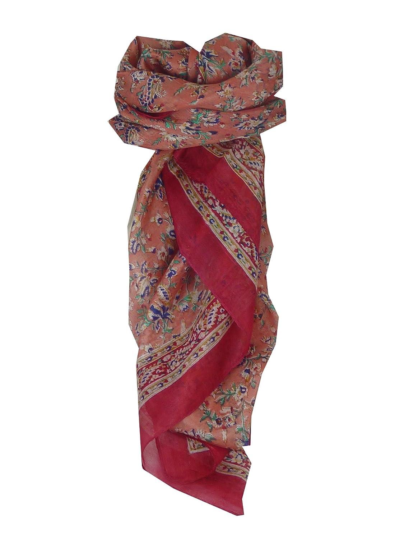 Ela Square Pink Traditional Silk Scarf by Pashmina & Silk