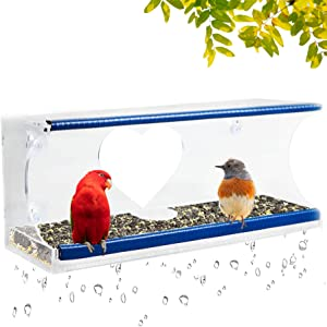Window Bird Feeder for Outside with 4 Strong Suction Cups & Sliding Seed Tray,Easy to Clean, Great Ventilation and Drain Holes.Outside View Up Close of Finch, Cardinal and Blue Jay