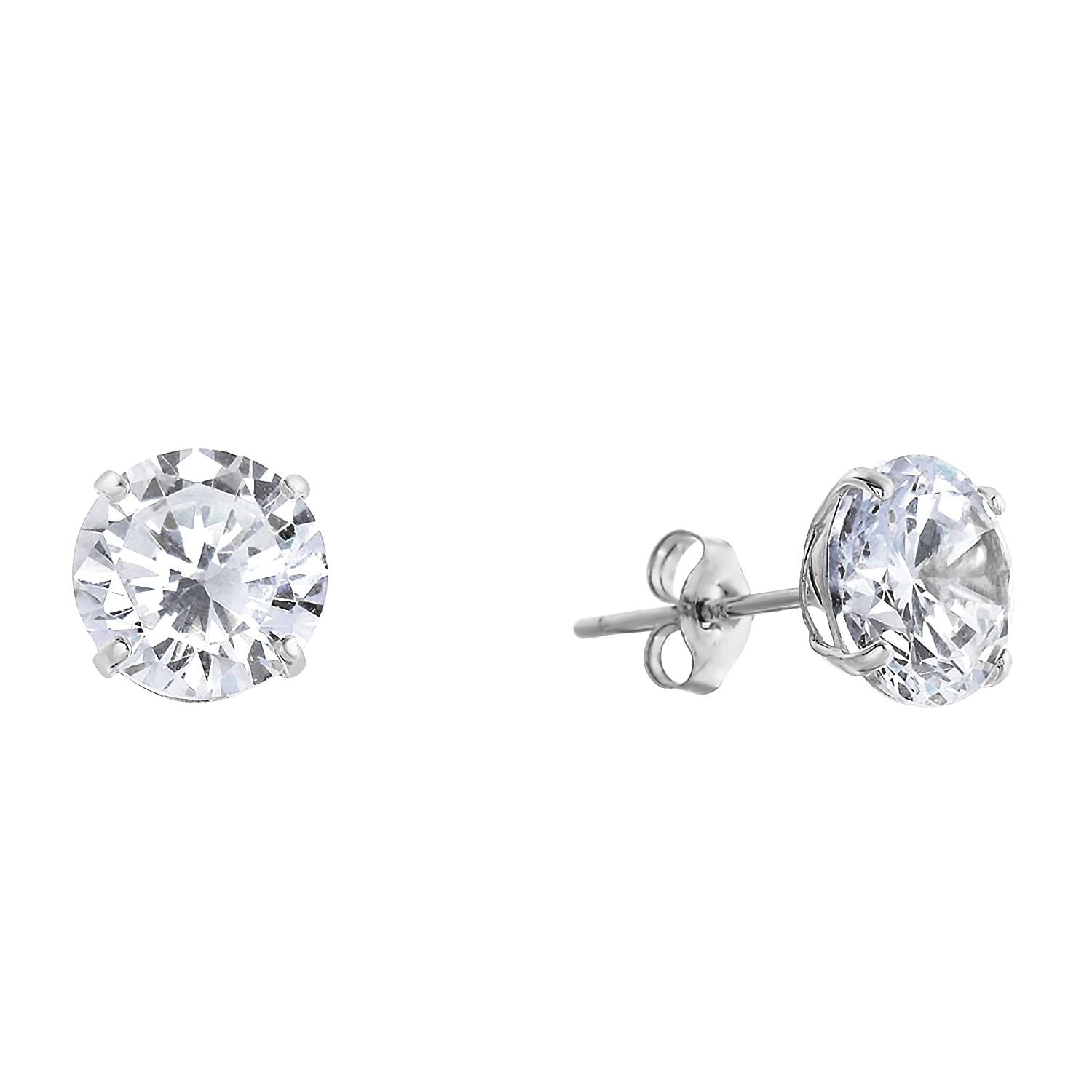 14k White gold Solitaire Round Cubic Zirconia Stud Earrings with gold butterfly Pushbacks (5mm)
