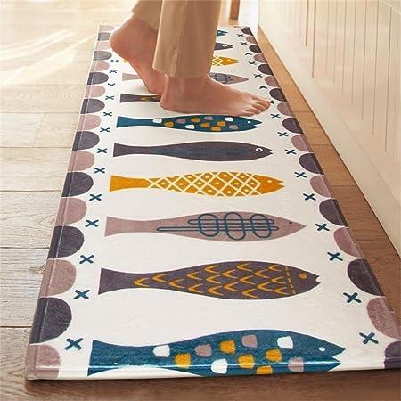 Teppich Küchenläufer Modern Design Wohnzimmer Badematte Kariert Waschbar 60x90cm