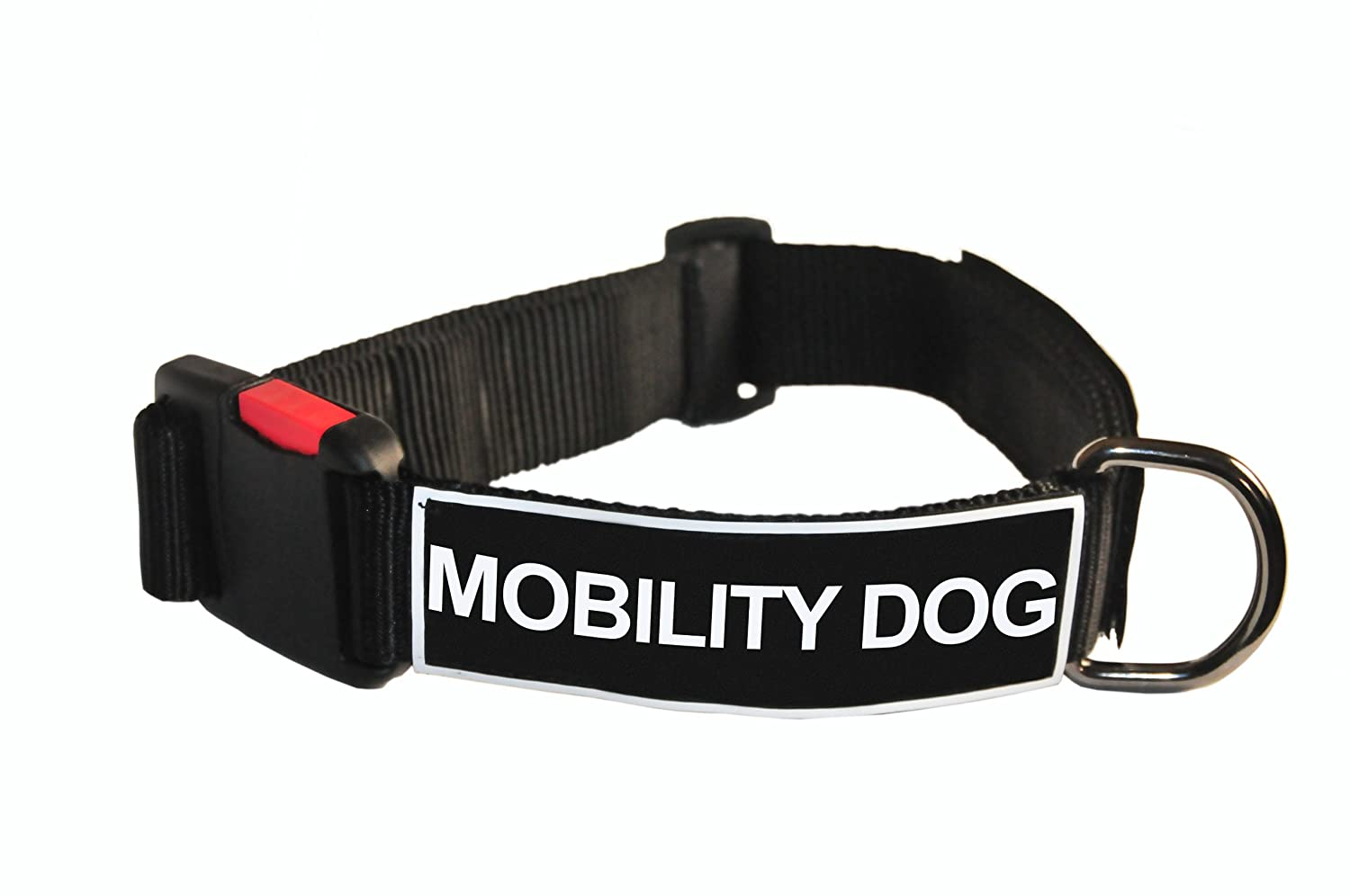 Dean and Tyler Patch Collar , Nylon Dog Collar with MOBILITY DOG Patches Black Size  Small Fits Neck 18-Inch to 21-Inch