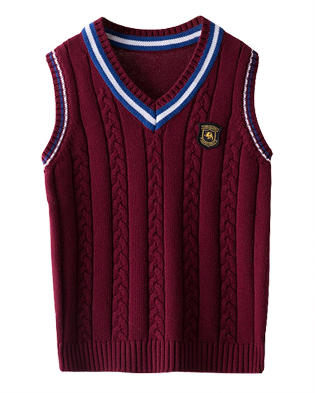 La Vogue Boys Knit Sweater Vest Cotton Knitwear V-Neck Tank Top Sweater