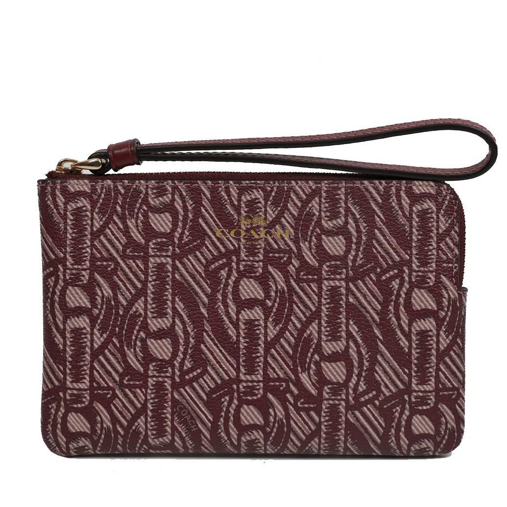Coach Crossgrain Leather Corner Zip Wristlet Wallet (Claret) by Coach (Image #1)