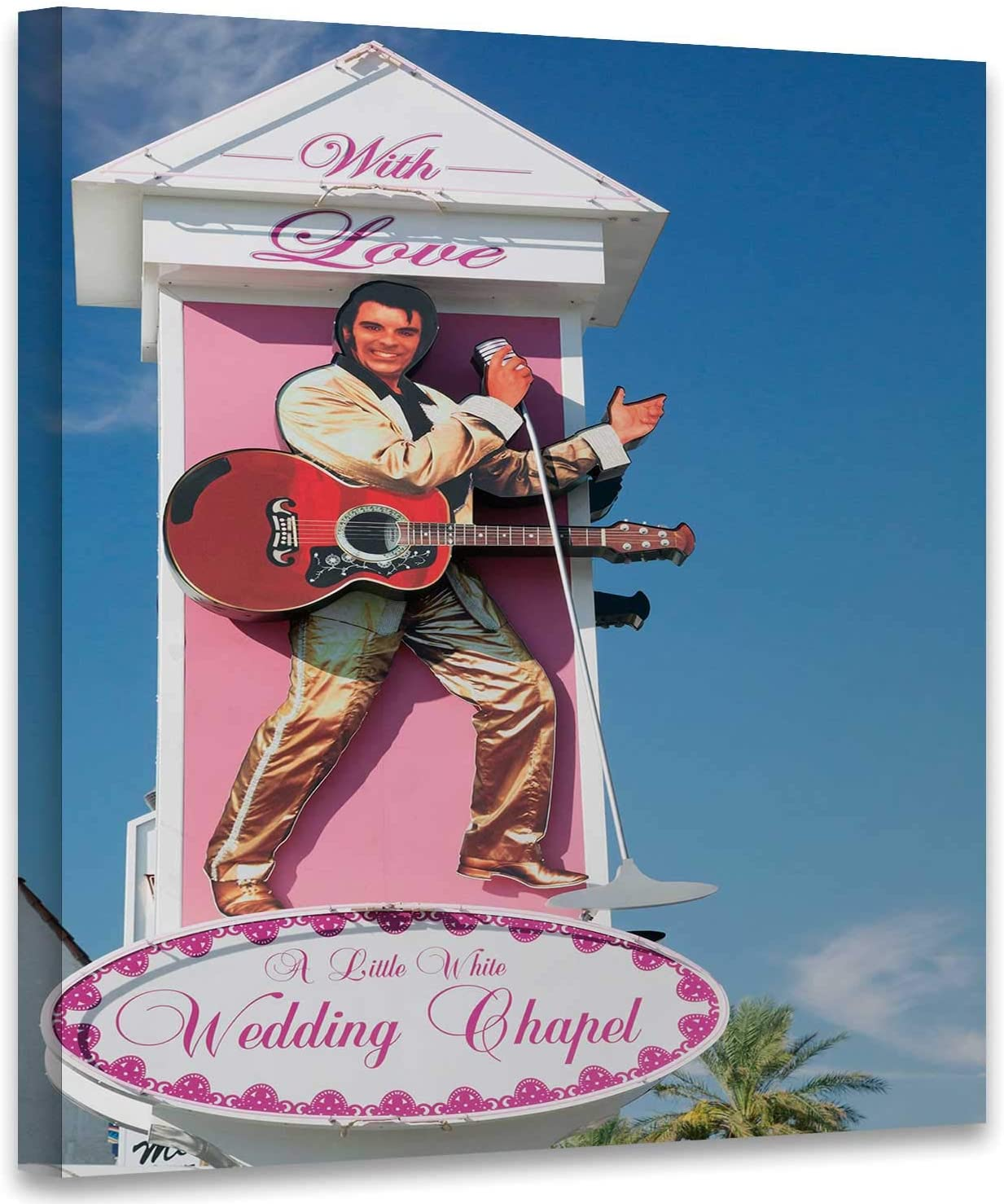 Little White Wedding Chapel Sign in Las Vegas,Room Decorations Nevada Presle Home Decoration 8x8