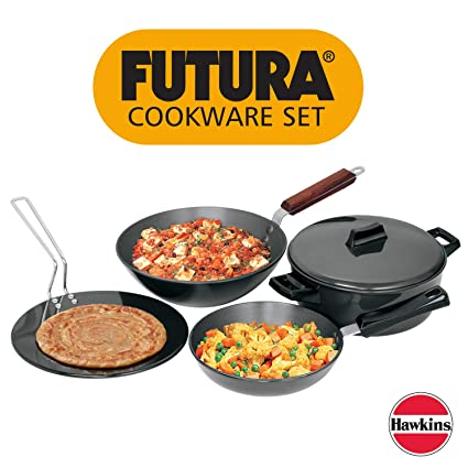 Hawkins Futura Hard Anodised Cookware Set, 4 Pieces (LS1)