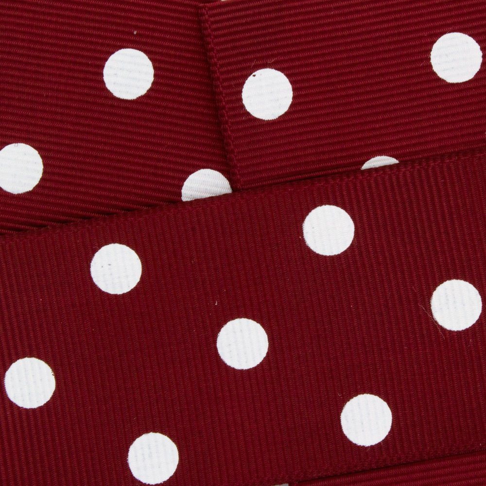 7/8'' Grosgrain Ribbon White Dots 789 Maroon 25yd