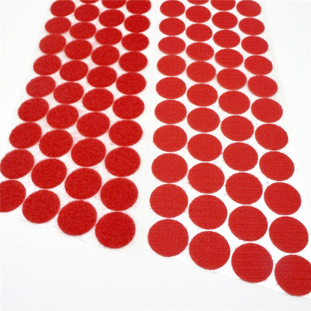 300pcs (150 Pairs) Self Adhesive Dots, Heat Resistant Sticky Back Hook Loop Coins Adhesive Tapes, 3/4'' Diameter, Waterproof Sticky Glue Fastener, Fits for School/Office/Home, Red
