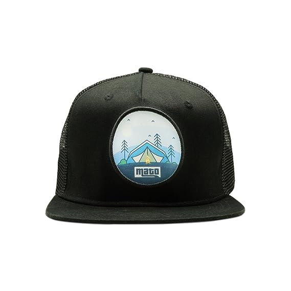 a5b668f90ad Mato Trucker Hat Snapback Happy Camper Flat Brim Mesh Baseball Cap Black at  Amazon Men s Clothing store